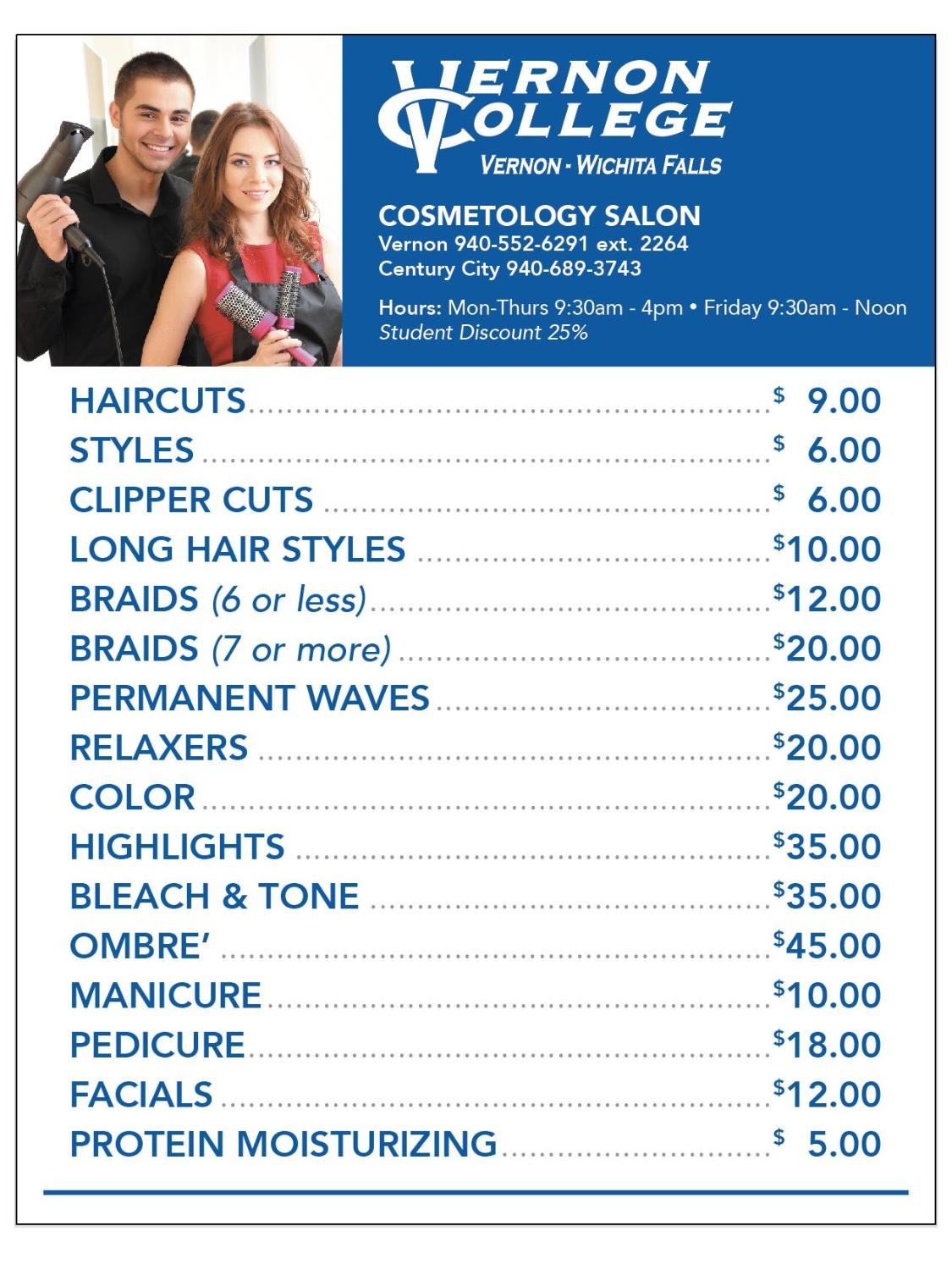 cosmetology price list
